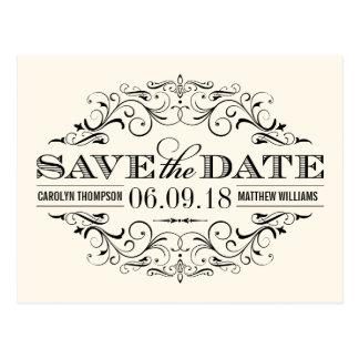 Elfenbein u. Strudel des Schwarz-Save the Date   Postkarte