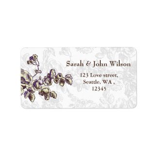 Elfenbein und lila Vintage Blumenhochzeit Adressaufkleber