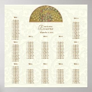 Elfenbein-Vintage Pfau-Vögel, die 12 Tabellen Poster