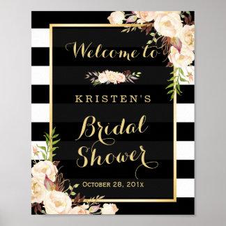 Elfenbein-weißes Blumenstreifen-Brautparty-Zeichen Poster