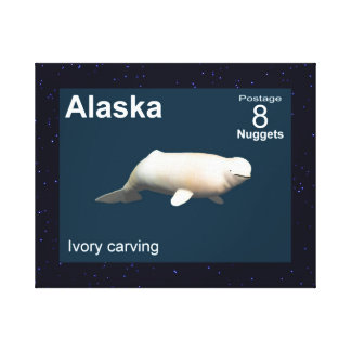 Elfenbein-Weißwal - Alaska-Porto Leinwanddruck