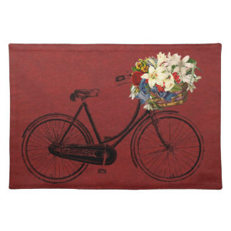 Elfenbeinfahrrad-Blumenfahrrad des Trendy Tischset