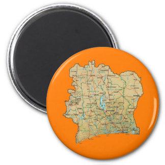 Elfenbeinküste-Karten-Magnet Runder Magnet 5,7 Cm