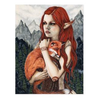 Elffox-Fantasie-Kunst-Natur-Postkarte Postkarte