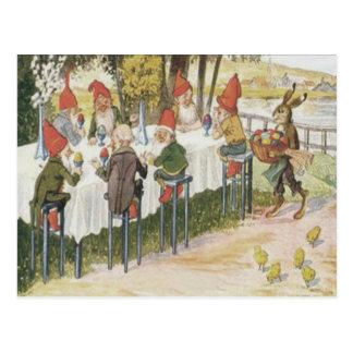 Elfgnome-Osterhasen-Küken färbte gemaltes Ei Postkarte