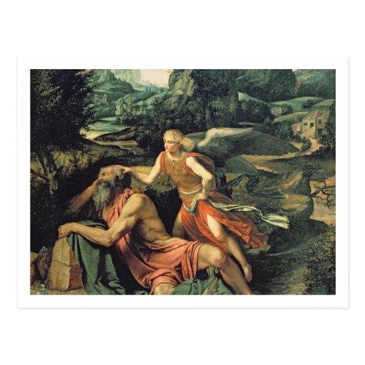Elija besuchte durch einen Engel, c.1534 Postkarte