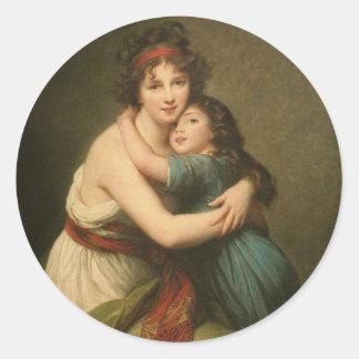 Elisabeth Vigee Lebrun mit Tochter 1780-1819 Runder Aufkleber