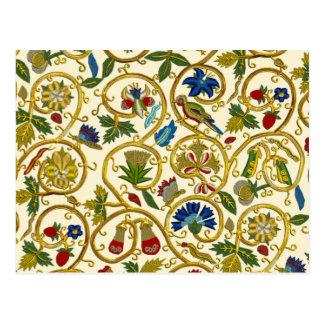 Elisabethanische Strudel-Stickereien - Goldwork Postkarte