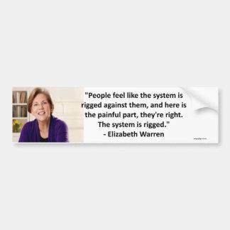 Elizabeth Waren - das System wird manipuliert Autoaufkleber