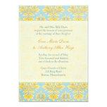 Elle Damast-hellblaues Hochzeit initivation 12,7 X 17,8 Cm Einladungskarte