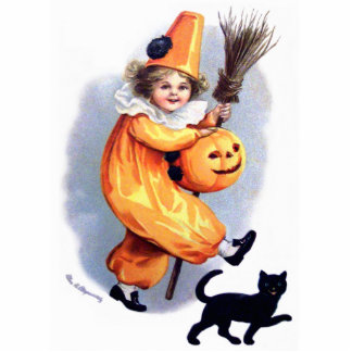 Ellen H. Clapsaddle: Halloween-Harlekin mit Katze Foto Skulpturen
