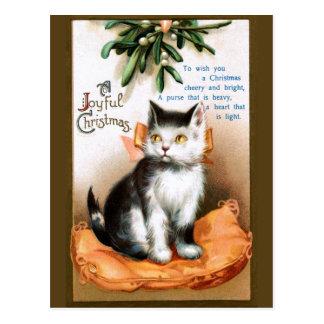 Ellen H. Clapsaddle: Katze unter Mistelzweig Postkarte