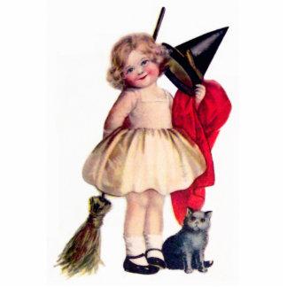 Ellen H. Clapsaddle: Kleine Hexe mit Katze Freistehende Fotoskulptur