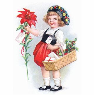 Ellen H Clapsaddle Mädchen mit Poinsettia Ausschnitte