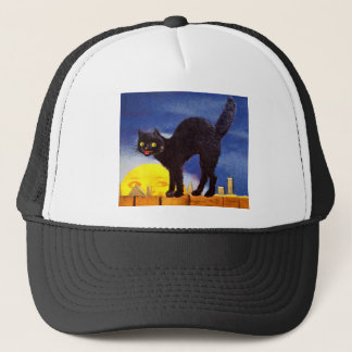 Ellen H. Clapsaddle: Schwarze Katze auf einem Zaun Truckerkappe