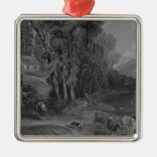 Ellisland Bauernhof und Fluss Nith Quadratisches Silberfarbenes Ornament