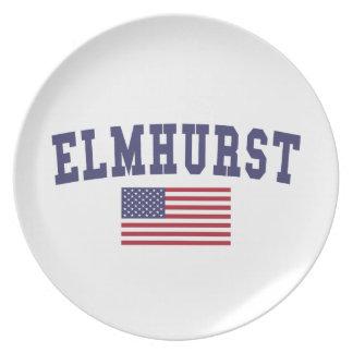 Elmhurst US Flagge Flache Teller