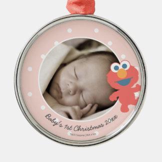 Elmo | das erste Weihnachten Babys - addieren Sie Silbernes Ornament