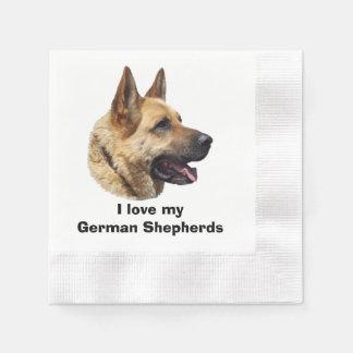 Elsässisches Schäferhundhundeporträt Papierserviette