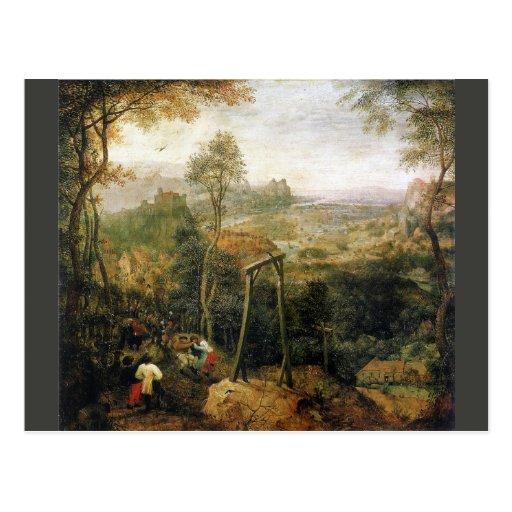 Elster auf den Galgenn durch Pieter Bruegel Postkarten