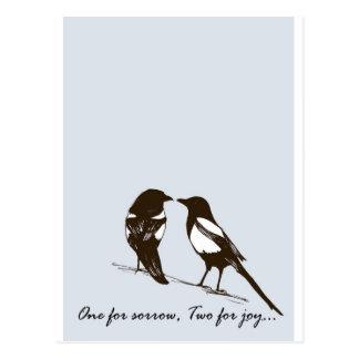 Elster - eine für Sorge zwei für Freude Postkarten