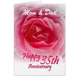 ELTERN - 35. Hochzeits-Jahrestag mit rosa Rose Karte