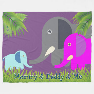 Eltern des Baby-Elefant-| glücklich und lächelndes Fleecedecke