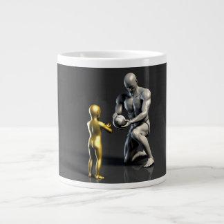 Elternteil-unterrichtendes Kind als Konzept in 3D Jumbo-Tasse