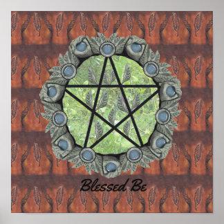 Elvenwood Pentagramm-Brown-Blatt BG. Altar-Kunst Poster