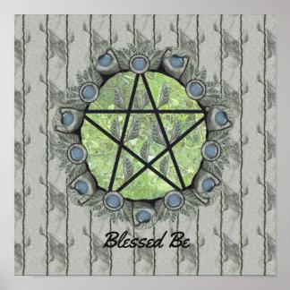 Elvenwood Pentagramm-Grün-Blatt BG. Altar-Kunst Poster