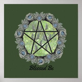 Elvenwood Pentagramm wählen Ihr BG. Col. Altar Art Poster