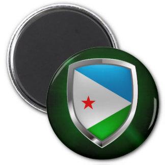 Emblem Dschibutis Mettalic Runder Magnet 5,7 Cm