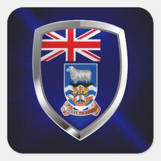 Emblem Falklandinseln Mettalic Quadratischer Aufkleber