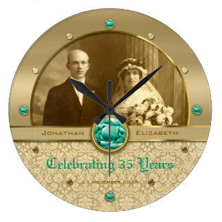 Emerald Wedding Anniversary Green Gem Damask Photo Große Wanduhr