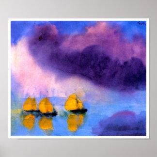 Emil Nolde - Meer mit violetten Wolken und Poster
