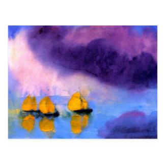 Emil Nolde - Meer mit violetten Wolken und Postkarte