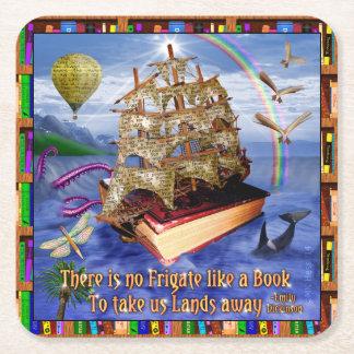 Emily Dickinson-Gedicht-Zitat-Buch-Schiffs-Ozean Rechteckiger Pappuntersetzer