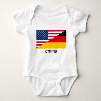 Emma, deutsch-amerikanische Flagge Baby Strampler