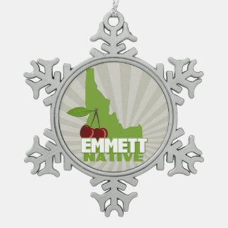 Emmett Idaho Eingeboren-berühmte süße Kirsche Schneeflocken Zinn-Ornament