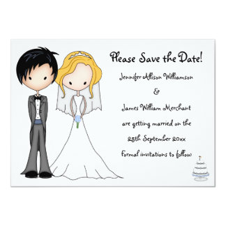 Emo Braut-und Bräutigam-Cartoon Save the Date 11,4 X 15,9 Cm Einladungskarte