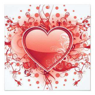 Emo Herz-Entwurfs-Einladungen Quadratische 13,3 Cm Einladungskarte
