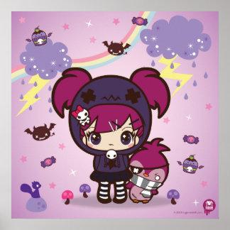 Emo Mädchen Haruka und Spitzen der Pinguin Plakat