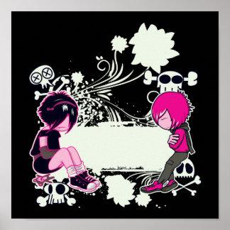 emo tiefe Gedanken-vektorillustration Poster
