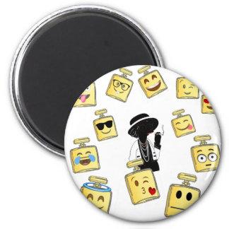 Emoji Abnutzung Runder Magnet 5,1 Cm