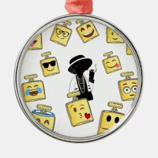 Emoji Abnutzung Silbernes Ornament
