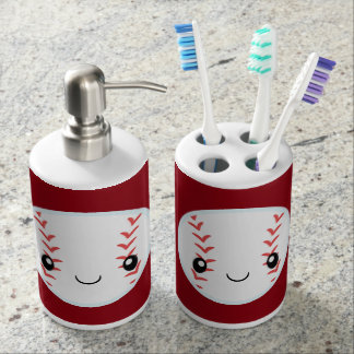 Emoji Baseball Seifenspender & Zahnbürstenhalter