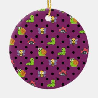 Emoji Damenwanzenschneckebienen-Raupen-Polkapunkte Keramik Ornament