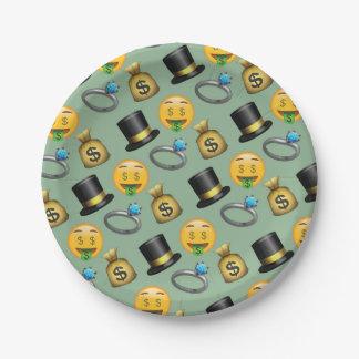 Emoji Geld-smiley-Grün-Muster Pappteller