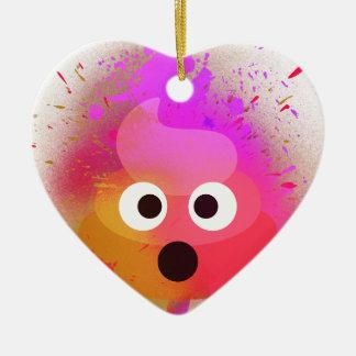 Emoji kacken Spray-Farben-Rosa/Lila Keramik Ornament