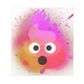Emoji kacken Spray-Farben-Rosa/Lila Notizblock